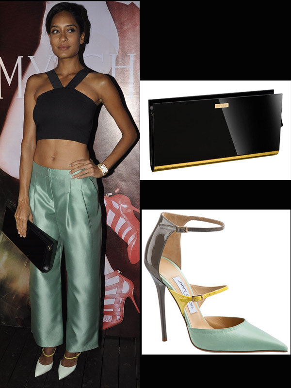 Lisa Haydon Sported Some Super Chic Giorgio Armani Trousers With Jimmy Choo Chill & Jimmy Choo Typhoon