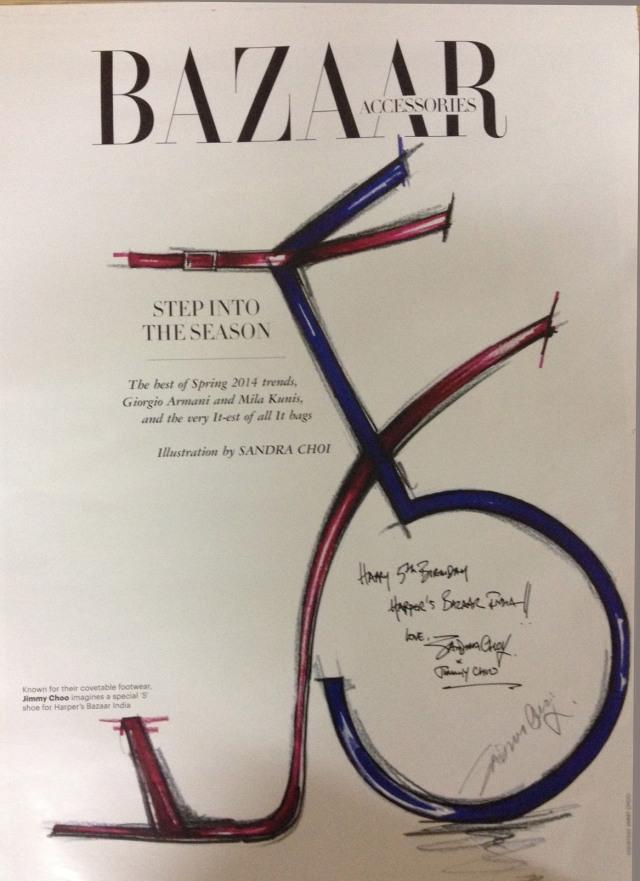 Jimmy Choo '5' by Sandra Choi for Harpers Bazaar