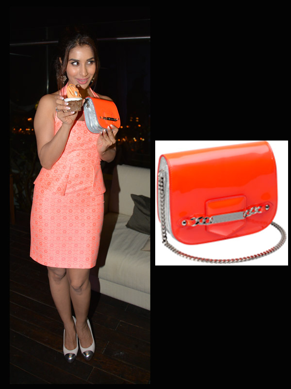 Sophie Choudry Glowed In A Neon Dress With A Matching Neon Jimmy Choo Shadow Clutch