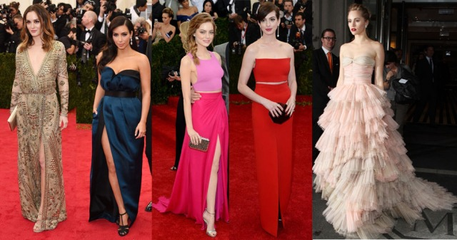From L - R: Leighton Meester in Pucci, Kim Kardashian in Lanvin, Emma Stone in Thakoon, Anne Hathaway in Calvin Klein, Suki Waterhose in Burberry