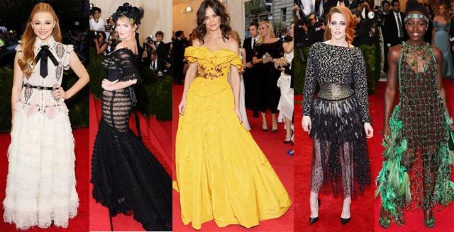 From L - R: Chloe Moretz in Chanel, Kate Upton in Dolce & Gabbana, Katie Holmes in Marchesa, Kristen Stewart in Chanel, Lupita Nyong'o in Prada