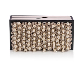 BOX- METAL WITH PEARL AND CRYSTAL EMBROIDERY-GOLD PEAL CRYSTAL
